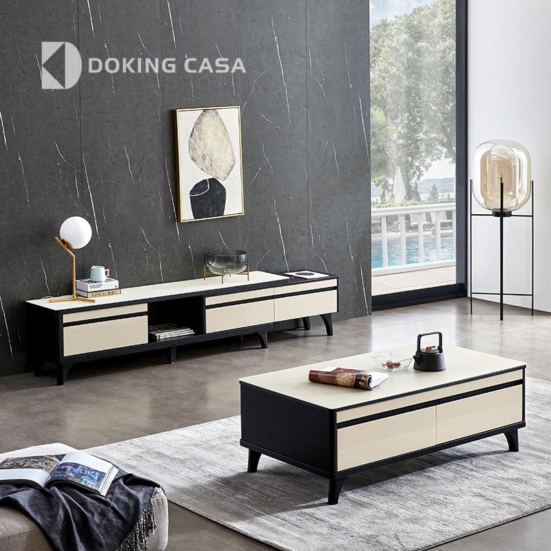 东金茶几电视柜组合可伸缩现代简约北欧小户型玻璃面实木地柜家具