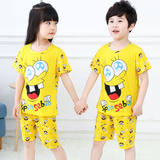 Children's pajamas short-sleeved men's and women's clothing clothing children's summer thin section autumn baby big boy cartoon suit