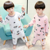 Summer children against cool short-sleeved jumpsuits 1-6 year old boys and girls long-sleeved mosquito-proof home clothing thin
