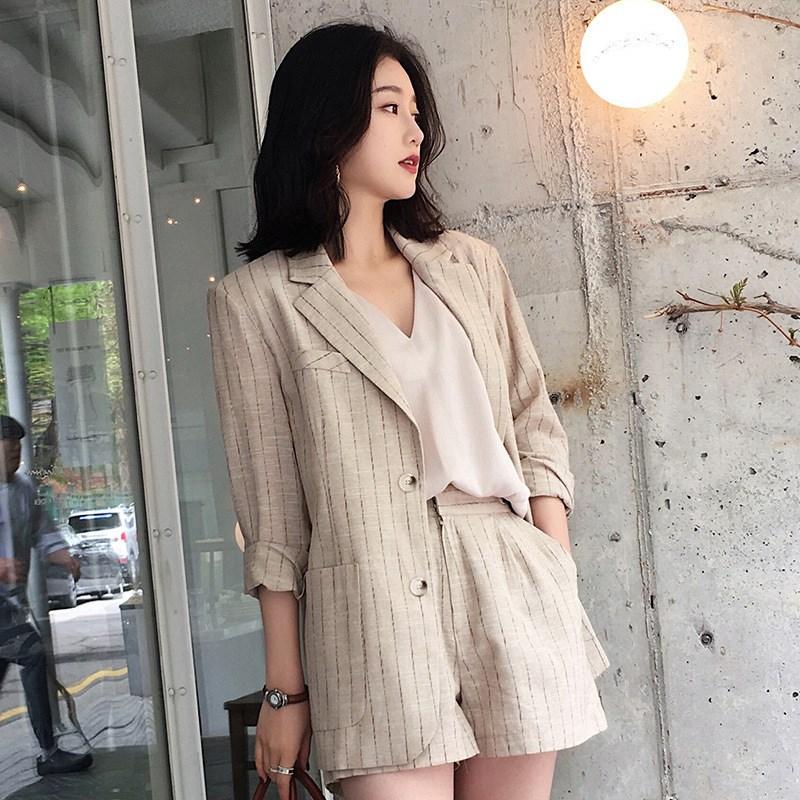 棉麻西装套装女2019初秋新款网红条纹粉色小香风洋气气质休闲时尚