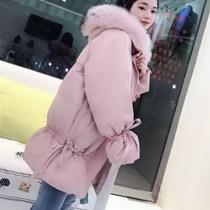 2018冬季新款韩版棉袄宽松可爱大毛领棉衣服气质过膝中长款外套女