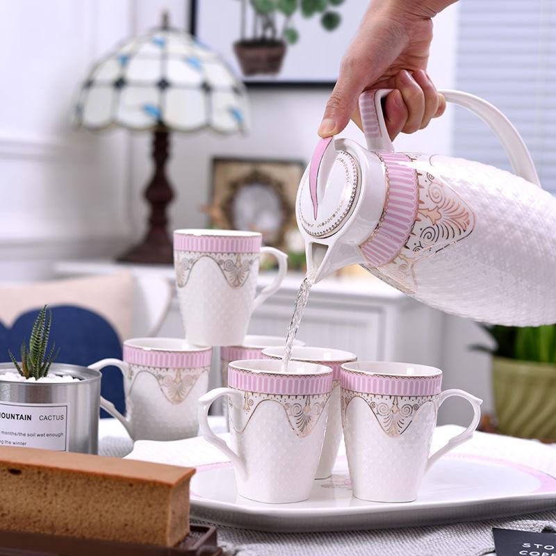 高档陶瓷冷水壶套装欧式家用水具套装简约热水壶果汁壶花茶壶茶杯