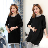 Pregnant women autumn suit 2019 Korean version of the bottom sweater sweater dress long section autumn and winter pregnant women shirt