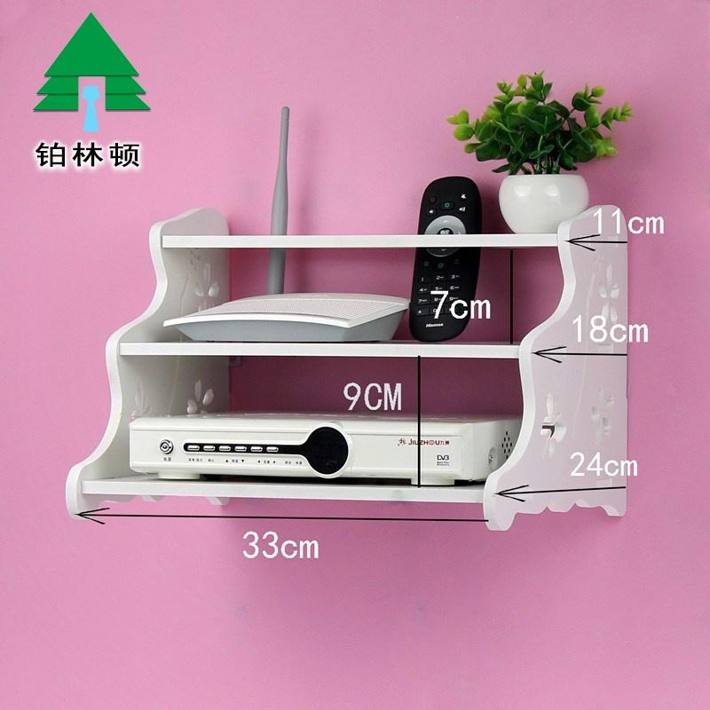 托架路由器支架壁挂式免打孔置物桌面三层托盘wifi电视架子挂墙上