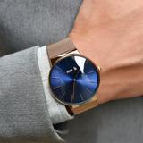 优唛2019新款石英机芯手表男士创意两针商务简约防水网钢带腕表