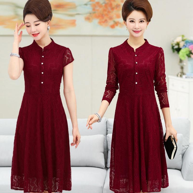 中老年女装春夏长袖蕾丝连衣裙40-50岁中年妈妈装中长款收腰长裙