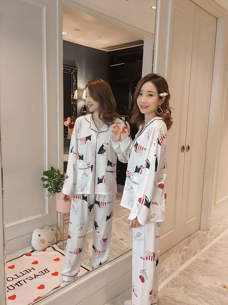 春秋季睡衣女纯棉长袖和服开衫系带全棉质孕妇家居服套装薄款