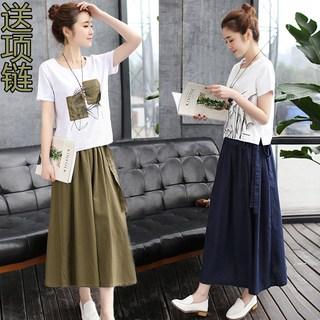 2019秋装新款时髦显瘦棉麻连衣裙女装夏季亚麻套装裙两件套长裙子