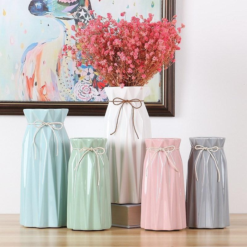陶瓷花瓶小清新干花客厅家居北欧白色园艺假花花器简约摆件1