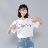 时以纯尚官方总店白色短袖t恤女装春装2019新款宽松韩版bf风上衣