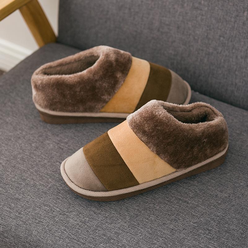2018情侣棉拖鞋女冬天室内外软底家居保暖月子包跟毛毛男拖鞋