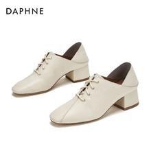 达芙妮2019秋季新款时尚粗跟单鞋女中跟头层牛皮百搭女鞋小皮鞋女图片