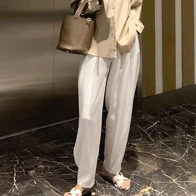 阔腿裤女2019新款夏高腰垂感直筒宽松显瘦白色休闲百搭薄款长裤子
