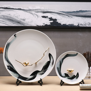 饰坐盘摆件陶瓷工艺品摆设家居艺术品装 饰品 现代新中式禅意客厅装