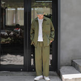 OFFBORD net red shirt suit male handsome set of tooling retro casual nine pants two sets of ins tide