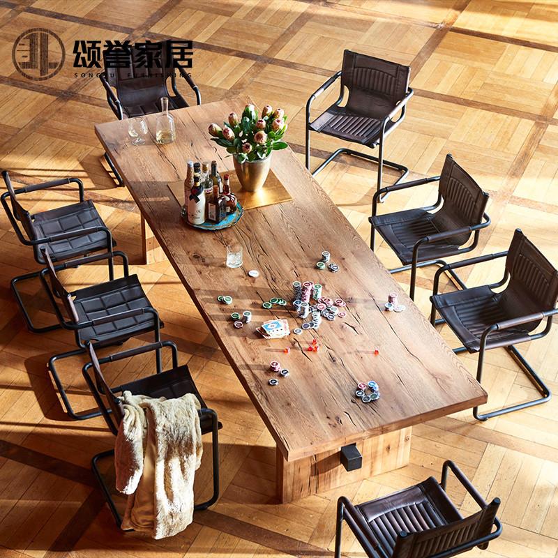 实木大餐桌椅组合 美式乡村复古原木长方形长桌做旧漫咖啡厅木桌