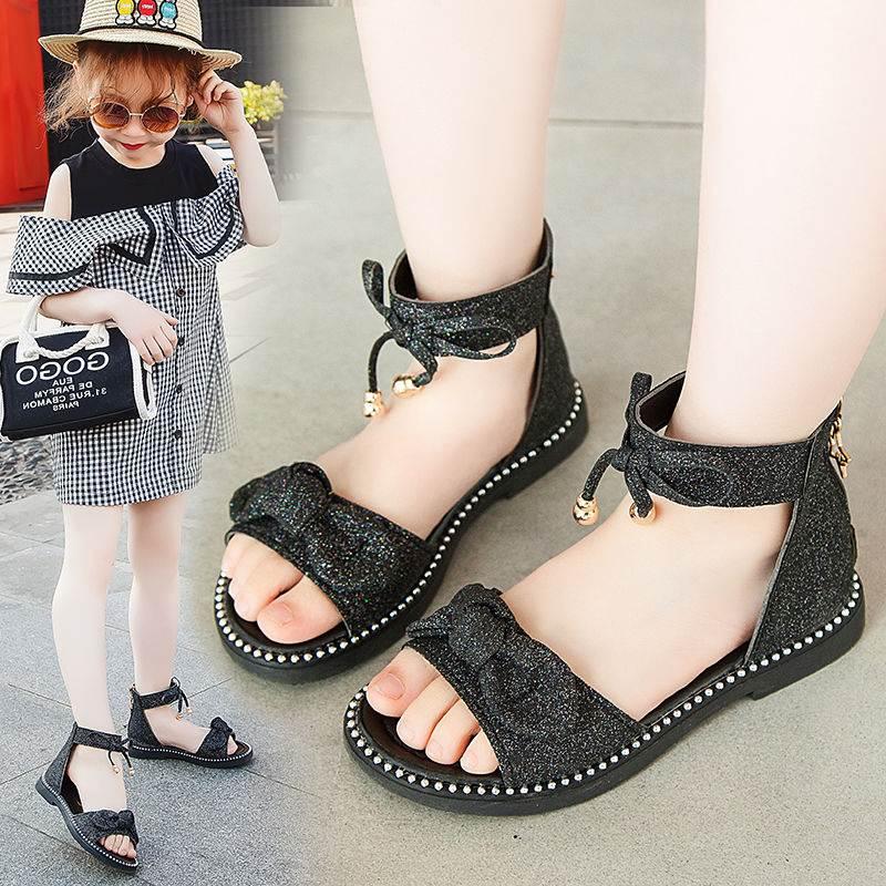 2019夏季新款女童凉鞋儿童包跟公主鞋小学生罗马鞋子中大童软底鞋