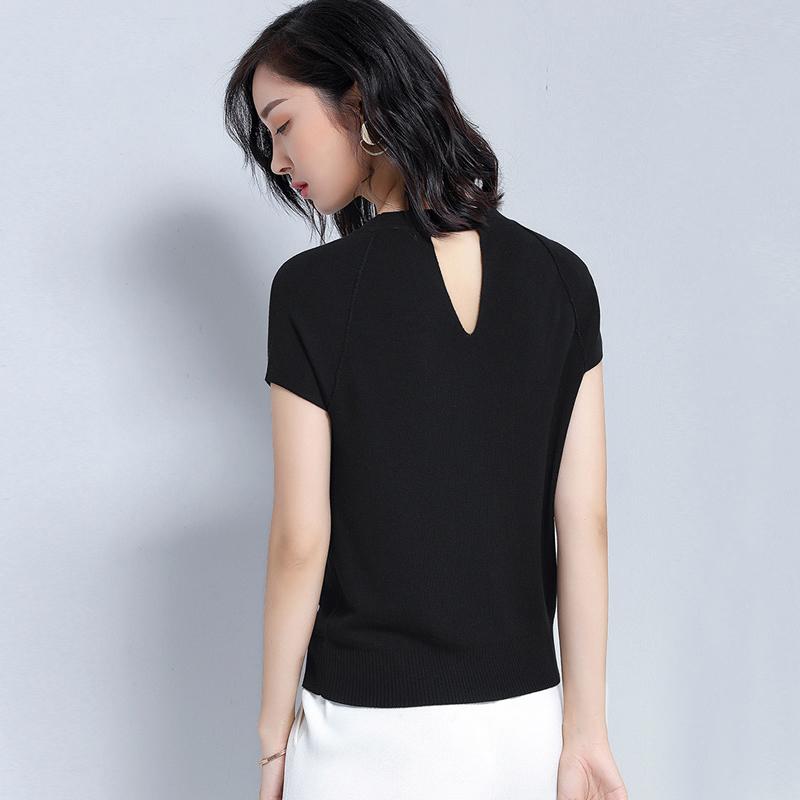 天丝针织短袖女夏季薄款2019新款圆领T恤黑色上衣打底衫显瘦修身