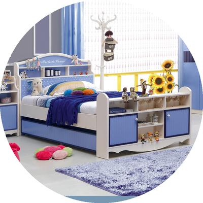 多米诺儿童床男孩单人床青少年王子床1.2/1.5米儿童房家具双层床销量排行