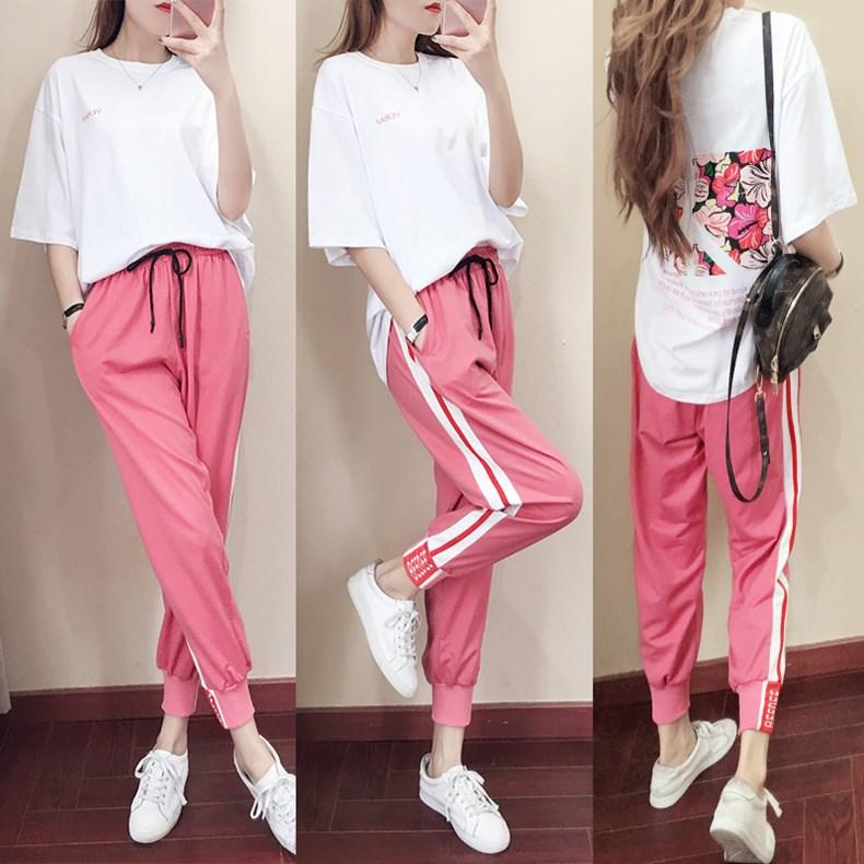 香港2019夏季新款套装宽松韩版运动套装女洋气网红学生休闲两件套