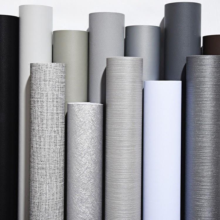 zz新款浅灰色家具自粘自贴加厚防水单色墙纸PVC壁纸 哑光翻新背景