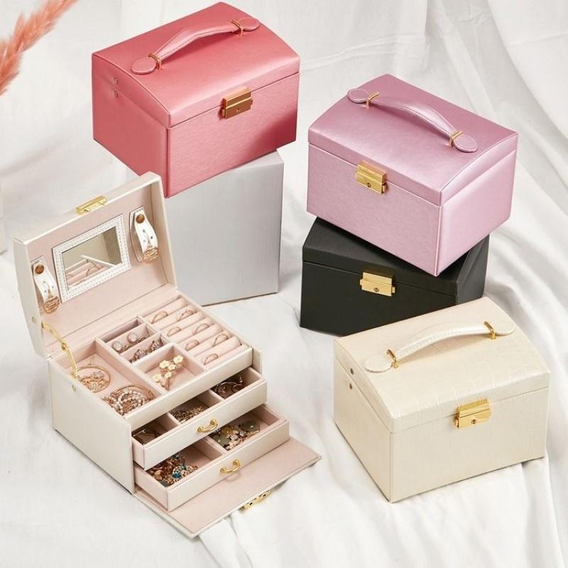 欧式公主多层首饰盒韩国木质饰品收纳盒礼品盒子带锁手金银首饰盒