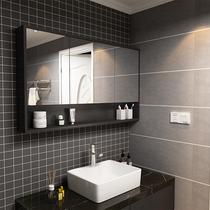 Nordic multi-layer solid wood bathroom wash mirror cabinet miroir imperméable simple salle de bains moderne Anti-brouillard cabinet miroir toilette