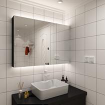 Nordic black solid wood cabinet de toilette Cabinet de miroir peut être installé lampe LED Salle de bain moderne Anti-brouillard cabinet de toilette miroir
