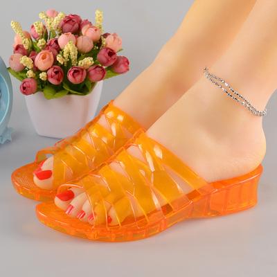 果冻色透明水晶塑料坡跟凉拖鞋女夏季厚底防滑老式熟胶室外半拖鞋