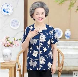 宽松短袖女装中老年人薄款新款夏天妈妈休闲奶奶装夏装70多岁套装