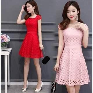 夏季中长款连衣裙女2019新款女装短袖蕾丝裙性感收腰显瘦大码裙子