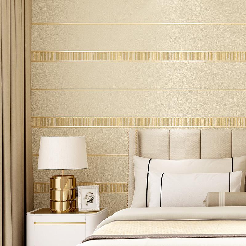 现代简约条纹墙纸 鹿绒高档绒面浮雕环保3dd立体客厅电视背景墙