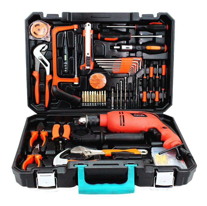 冲击电钻家用电动工具套装 多功能电木工五金礼品组合组套工具箱