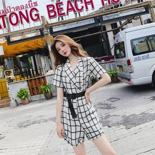 收腰腰带款复古气质款连身裙2019夏季新款舒适休闲chic