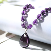 Amethyst Necklace Fashion Lady Crystal Pendant Clavicle Chain Giving Girlfriend Valentine's Day Birthday Gift Jewelry