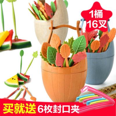 小麦秸秆水果叉子 创意可爱点心沙拉月饼叉套装 儿童宝宝安全插子