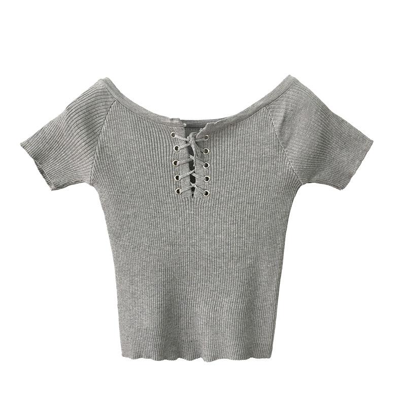 2017夏装新款半开领交叉系带针织衫女短袖套头紧身显瘦t恤上衣