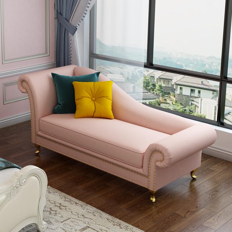 轻奢布艺贵妃椅单人躺椅北欧小户型现代简约粉红少女心卧室美人榻