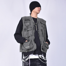CAS High Street Blower can wash water in multiple pockets to make old grey jeans tactical Majiains Chao brand retro jacket for men