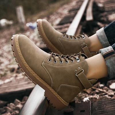 2018新款马丁靴男士高帮鞋百搭潮流男靴英伦风冬季保暖加绒雪地靴