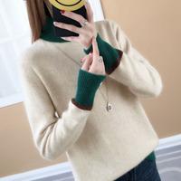 冬季加厚高领撞色套头韩版新款宽松针织打底衫显瘦修身长袖毛衣女