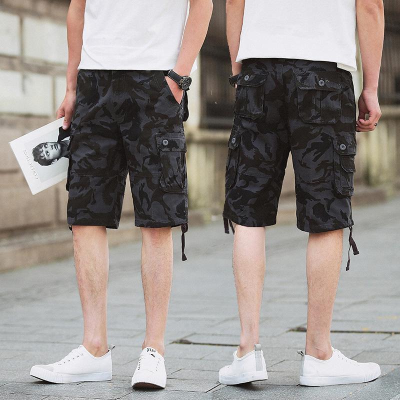 夏天薄款男士短裤青少年修身五分裤沙滩裤半腿马裤夏季迷彩中裤男