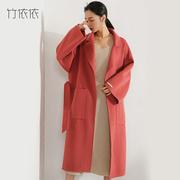 手工缝制 冬季新款韩国双面绒羊毛大衣女宽松中长款红色毛呢外套