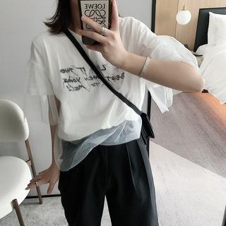 2019夏季新款女装韩版网纱拼接圆领上衣淑女气质短袖雪纺衫