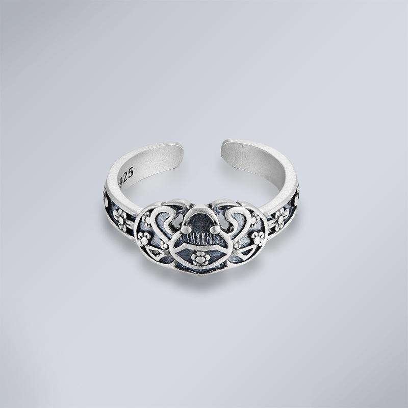 泰可泰银精工古典复古女式925银指环开口手饰花卉配饰戒指女
