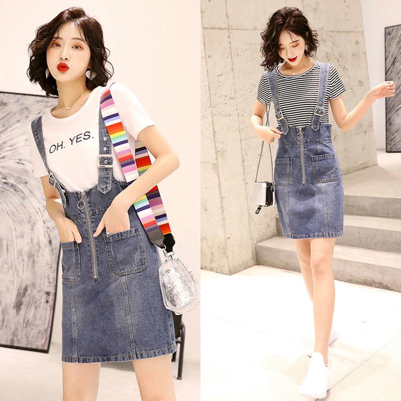 夏装2019新款套装牛仔裙吊带连衣裙女T恤韩版休闲背带裙子两件套