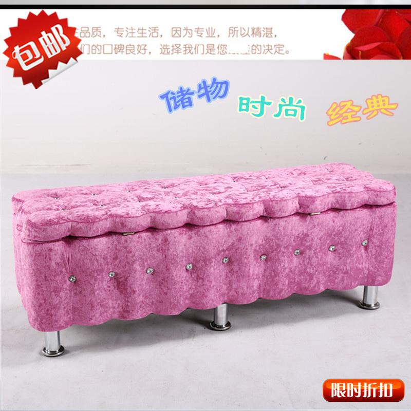 储物换鞋凳 服装店沙发凳整装收纳现代脚凳 欧式实木布艺长凳包邮