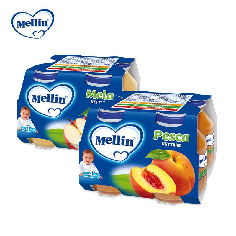 意大利Mellin原装进口美林苹果味+桃子味婴幼儿宝宝果汁125g*8罐