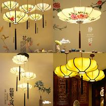 新中式布艺手绘画创意灯笼吊灯复古中国风火锅店饭店飞碟异形灯笼