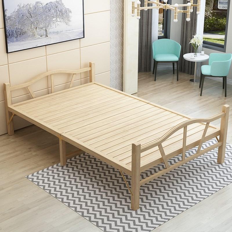 竹床折叠床单人双人午休简易午睡实木板成人家用1.2米1.5硬板床